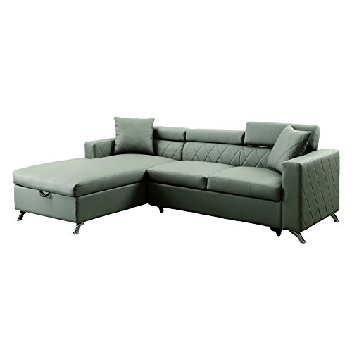 HOMES: Inside + Out IDF-6292-SEC Steels Sleeper Sectional (Sectional Sleeper Loveseat)