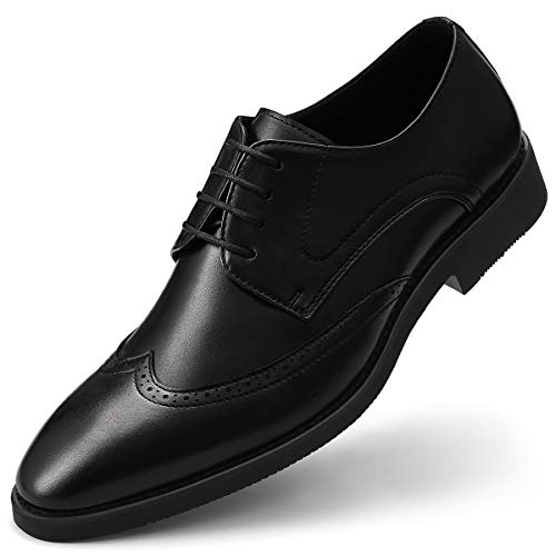 Men's Wingtip Derby Shoes Formal Dress Shoe Classic Lace Up Brogue Black 7.5