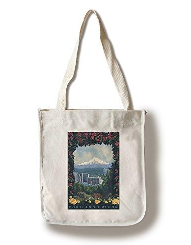 Lantern Press Portland, Oregon - Roses and City (100% Cotton Tote Bag - Reusable)