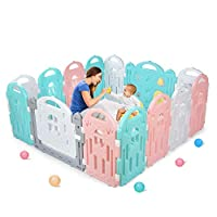 BAMMAX Baby Playpen, Baby Fence Indoor Play Yard for Baby 14 Panels Kids Activity Centre Playard Portable Baby Fence Play Area with Silicone Sucker for Toddler 9 Months~4 Years Old