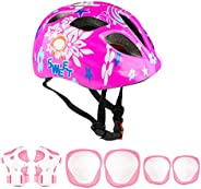 Besmall Kids Helmet Protective Gear Set, Boys Girls Ages 3-7 Cycling Adjustable Helmet Safety Pads Set for Rol