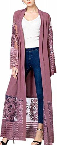Yarn Womens Cardigan Abaya Dress Islamic Line Jaycargogo Long Purple Net Muslim 0qdx1g