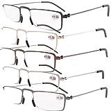 Eyekepper 5-Pack Straight Thin Stamped Metal Frame Half-eye Style Reading Glasses Readers +1.75