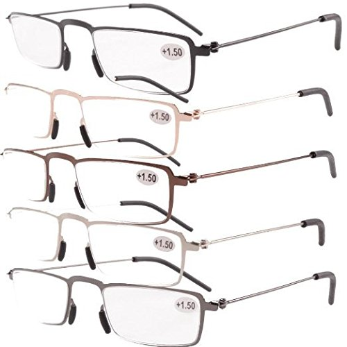 Eyekepper 5-Pack Straight Thin Stamped Metal Frame Half-eye Style Reading Glasses Readers - Style Frame Glasses