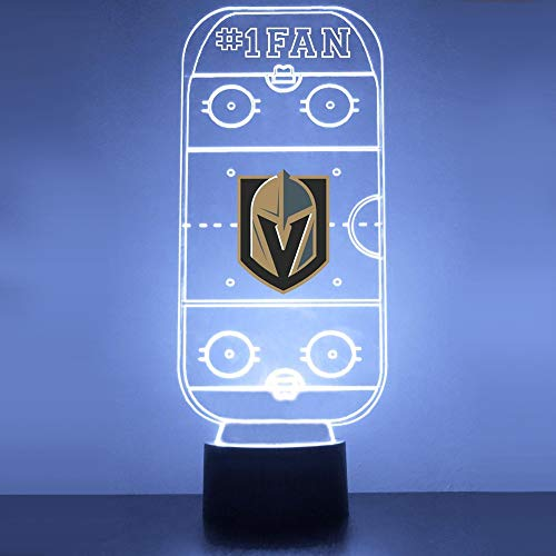 Mirror Magic Store Golden Knights Hockey Rink LED Night Light with Free Personalization - Night Lamp - Table Lamp - Featuring Licensed Decal
