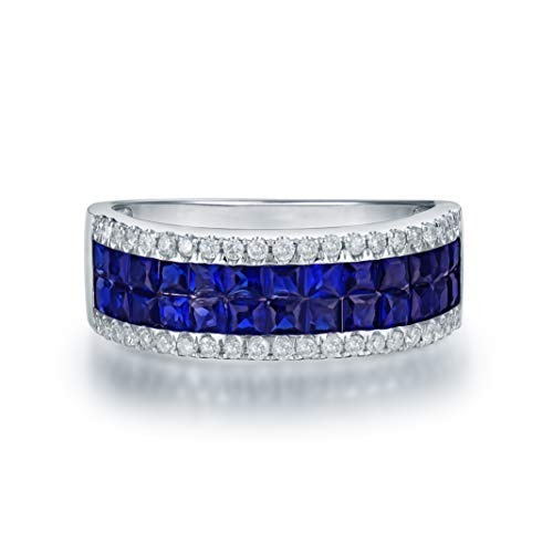 14K White Gold Natural Sapphire & South Africa Diamond Wedding Band Ring