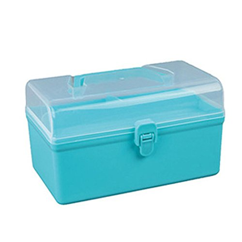 Berryhot Plastic Stacking Organizer Toy Box with Attached Lid for Storage of Action Figures, Crayons, Markers, Building Blocks, Puzzles, Craft or School Supplies (Bule) ()