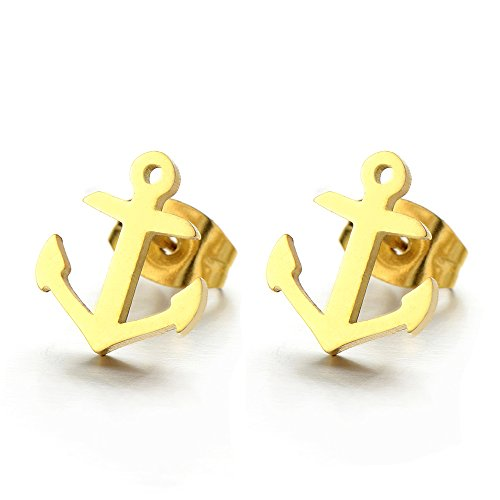 Stainless Gold Anchor Stud Earrings - 1