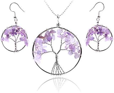 AdronQ® Conjuntos de Joyas de Reiki Árbol de la Vida Fichas de Piedras Preciosas Naturales Opal Cuarzo Cristal de Roca Pendientes Colgantes Collares Curación