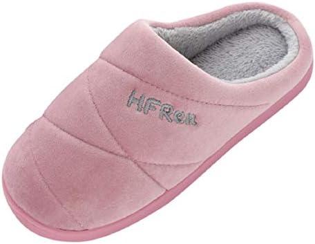 Bkolouuoe Slippers Fluffy Fleece Lined Winter Indoor Outdoor Non-Slip House Home Slip on Garden Shoes Men Women