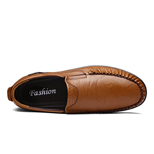 Minitoo Boys Mens Slip-On Moccasin Toe Casual Loafers Dark Brown