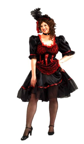 Western Costumes - Forum Novelties Plus Size Saloon Girl Costume, Red, Standard