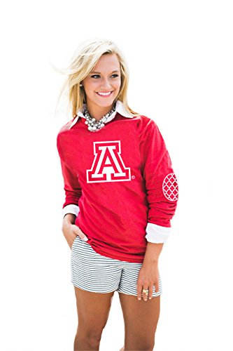 (NCAA  Arizona Wildcats,  Puff Print Elbow Patch Long Sleeve Tee, Red, Small)