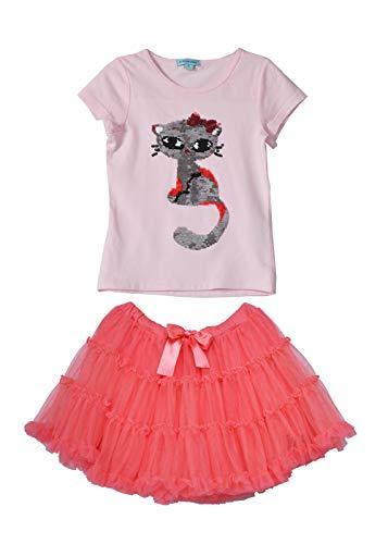 Reversible Spandex Skirt (Girls Dresses Kids Reversible Sequins Kitten Tutu Birthday Wedding Party 2 Piece Casual Playwear Skirt Sets 4-6 Years (4 Years, Pink/Orange C19))