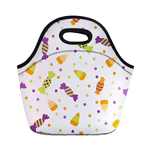 Semtomn Lunch Bags Black Border of Halloween Trick Treat Candies Bright Neoprene Lunch Bag Lunchbox Tote Bag Portable Picnic Bag Cooler Bag ()