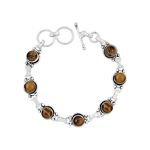 (Natural 7mm Round Shape Tiger Eye Link Bracelet 925 Silver Plated Handmade Oxidized Finish Jewelry for Women Girls )
