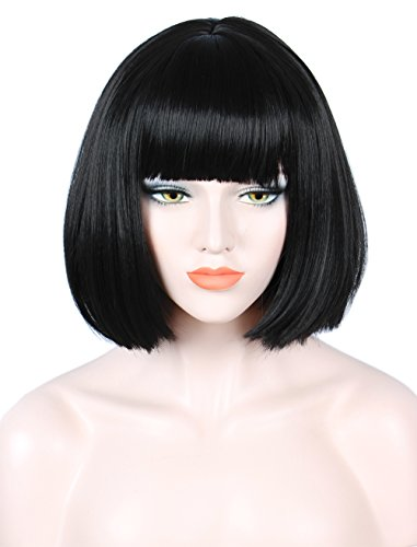 Linfairy Short Black Bob Wig Halloween Cosplay Costume Wig for Women -
