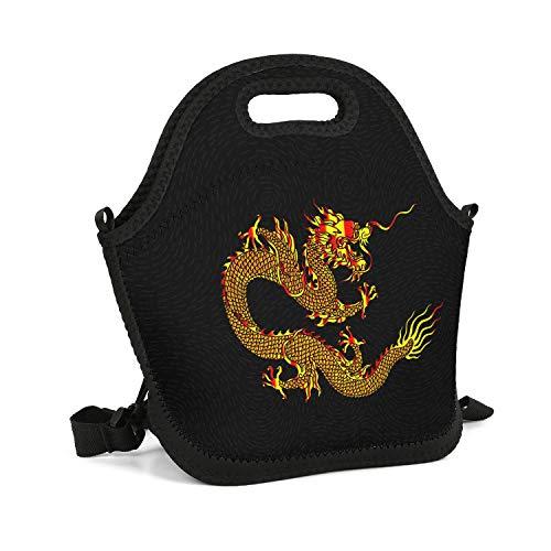 (UHOMEW Lunch Bag Lunch Tote Lunch Box Handbag Dark Fire Chinese Dragon Totem for Men Women Adults Nurses)
