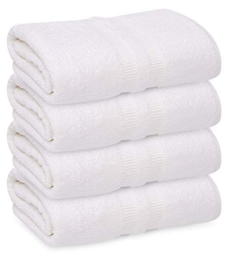 CDM product GOLD TEXTILES 6 Pack Premium Cotton Bath Sheets (Bright White, 30x60 Inch) Luxury Bath Towel Perfect for Home, Bathrooms, Pool and Gym Ringspun Cotton (6, White) big image