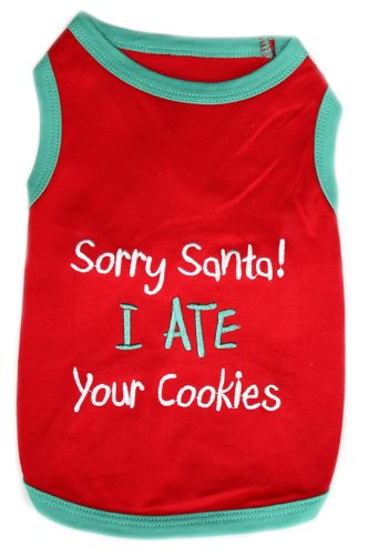Pet Clothes SANTA I ATE YOUR COOKIES Dog T-Shirt - Small, My Pet Supplies