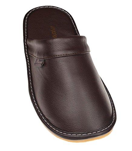 Cattior Mens Solide Pantofole In Pelle Comode Pantofole Da Casa Caffè