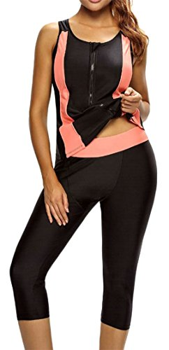 Cromoncent Womens Contrast Color Zip Padded Skinny Quick Dry Rash Guard Shirt Swimsuit Black XS by Cromoncent