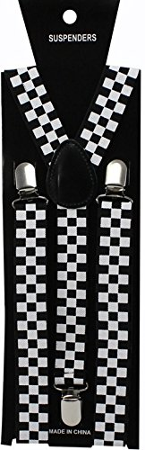 Black & White Checks - Funky Trendy Unisex Suspender Braces (Burlesque Clothing Men)