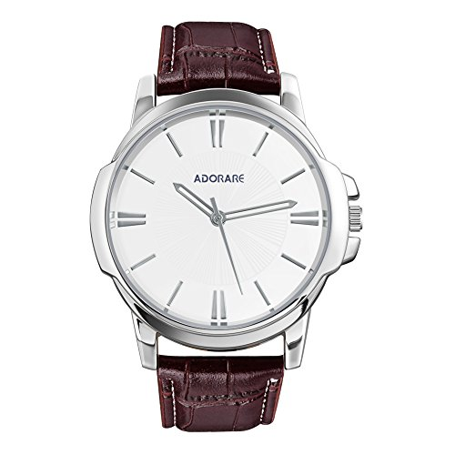 Mens Quartz Watch,Business Casual Analog Wrist Watch,Waterproof Water Resistant Leather Watches - Brown Band White Dial