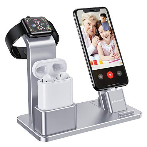 YoFeW Apple Watch Stand Aluminum 4 in 1 Apple Watch Charger Dock Accessories for AirPods Charging Docks Stand for Apple Watch Series 3/2/ 1/ AirPods/iPhone 8/8 Plus/ 7/7 Plus /6s iPad Silver