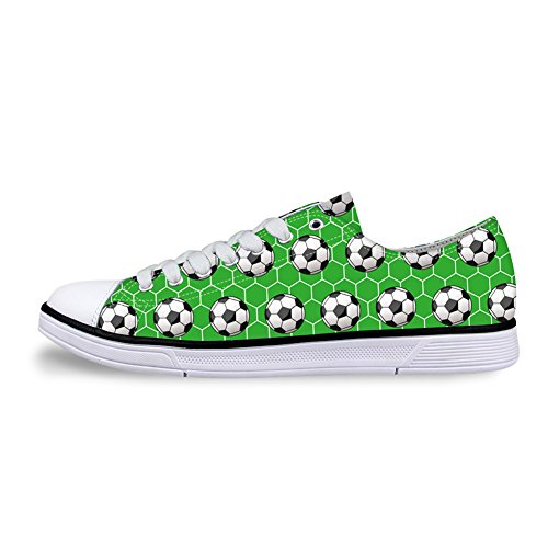 Women Adults Canvas Sneakers 3D Printed Football on The Green Field Pattern Low Top Lace Up Lightweight Casual Shoes.