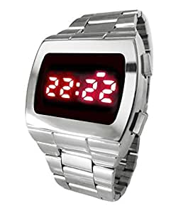70s Retro Style LED Watch Powerful Red Display, Chrome Silver Vintage Style Digital Full Set