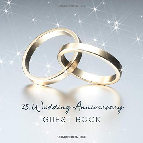 25th Wedding Anniversary Guest Book Golden Wedding Rings Cover On