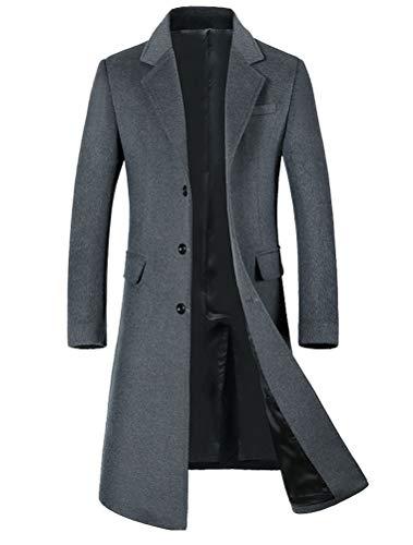 - Mordenmiss Men's Long Slim Peacoat Winter Business Wool Blazer Gentlemen Trench Coat Style 2 L Quilted Gray