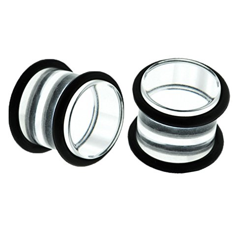 BJ Clear Double O-Ring Acrylic Gauges/plugs 2 Piece (1 Pair) (B/72) (1/2'' (1/2' Clear Acrylic)