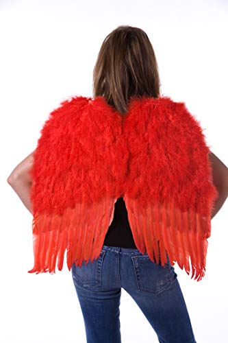 Medium Red Angel Costume Wings - Halloween Cosplay Feather Wings for Adults-Kids -