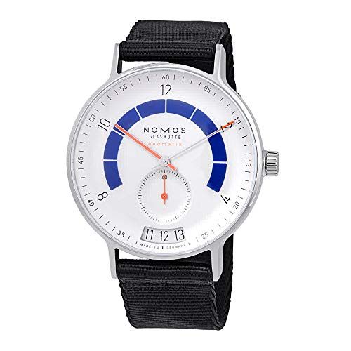 Nomos Glashuette Men's Autobahn 41mm Blue Cloth Band Steel Case Automatic White Dial Analog Watch 1303