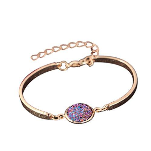- LLguz Simple Temperament Women Fashion Alloy Crystal Style Cluster Bracelet Fashion Color Sanding Bracelet Bangle Bracelet Jewelry (Multicolor F)