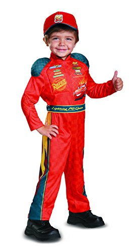 Cars 3 Lightning Mcqueen Classic Toddler Costume, Red, Medium (Disney Pixar Cars Halloween Costumes)