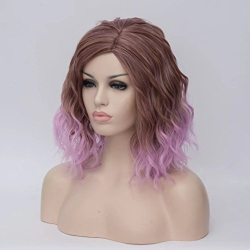 BUFASHION-Short-Bob-Ombre-Pink-Wavy-Glueless-Synthetic-Hair-Wig-Heat-Resistant-Middle-Parting