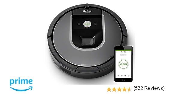 iRobot Roomba 960 - Robot Aspirador Óptimo Mascotas, Succión 5 Veces Superior, Cepillos de Goma Antienredos, Sensores Dirt Detect, Suelos y Alfombras, ...