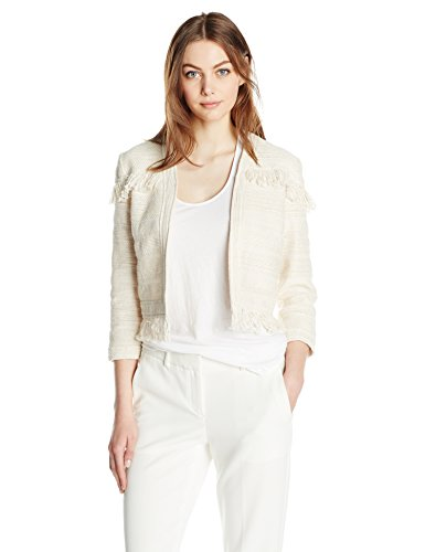 BB Dakota Women's Nikita Fringe Trim Jacquard Jacket, Antique/Ivory, Small