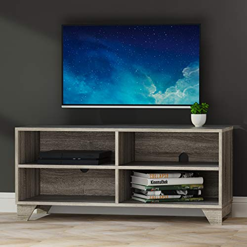 Weathered Grey Oak Plasma LCD TV Television Entertainment Stand with Open Storage Display