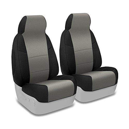 Coverking Custom Fit Front 50/50 Highback Bucket Seat Cover for Select Chevrolet K5 Blazer Models – Neoprene (Medum Gray with Black Sides)