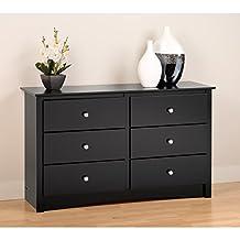 Prepac BDC-4829 Sonoma Condo Sized 6-Drawer Dresser (Black)