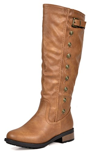 DREAM PAIRS Women's Army Camel Pu Leather Knee High Winter Riding Boots Wide Calf Size 8.5 M US