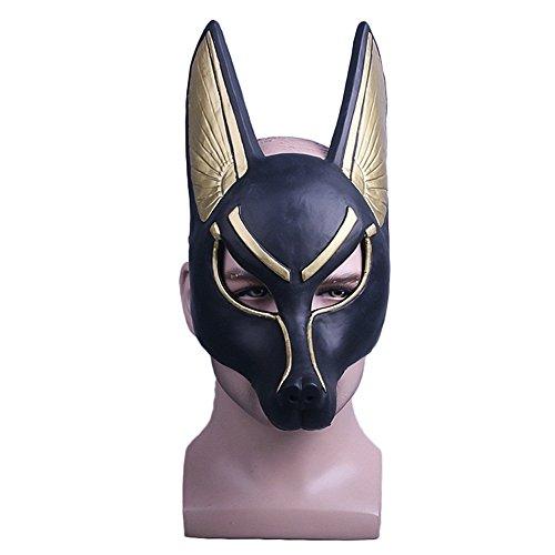 Jackal Halloween Mask (Shancon Egypt Death God Anubis Cosplay Mask Jackal Wolf Head Fox Ἄνουβις Costume)