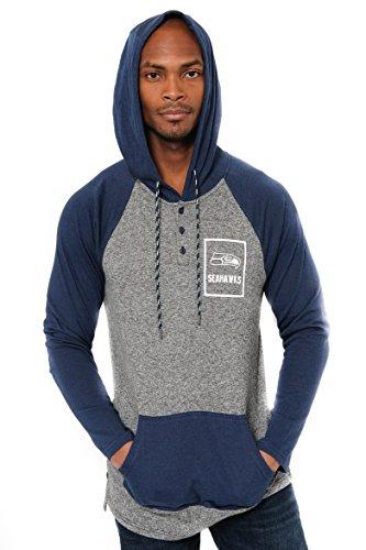 (ICER Brands Adult Men Fleece Hoodie Pullover Sweatshirt Henley, Team Color, Navy,)