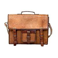 """Urbankrafted 15"""" vintage leather briefcase shoulder messenger laptop bag for men and women's"""