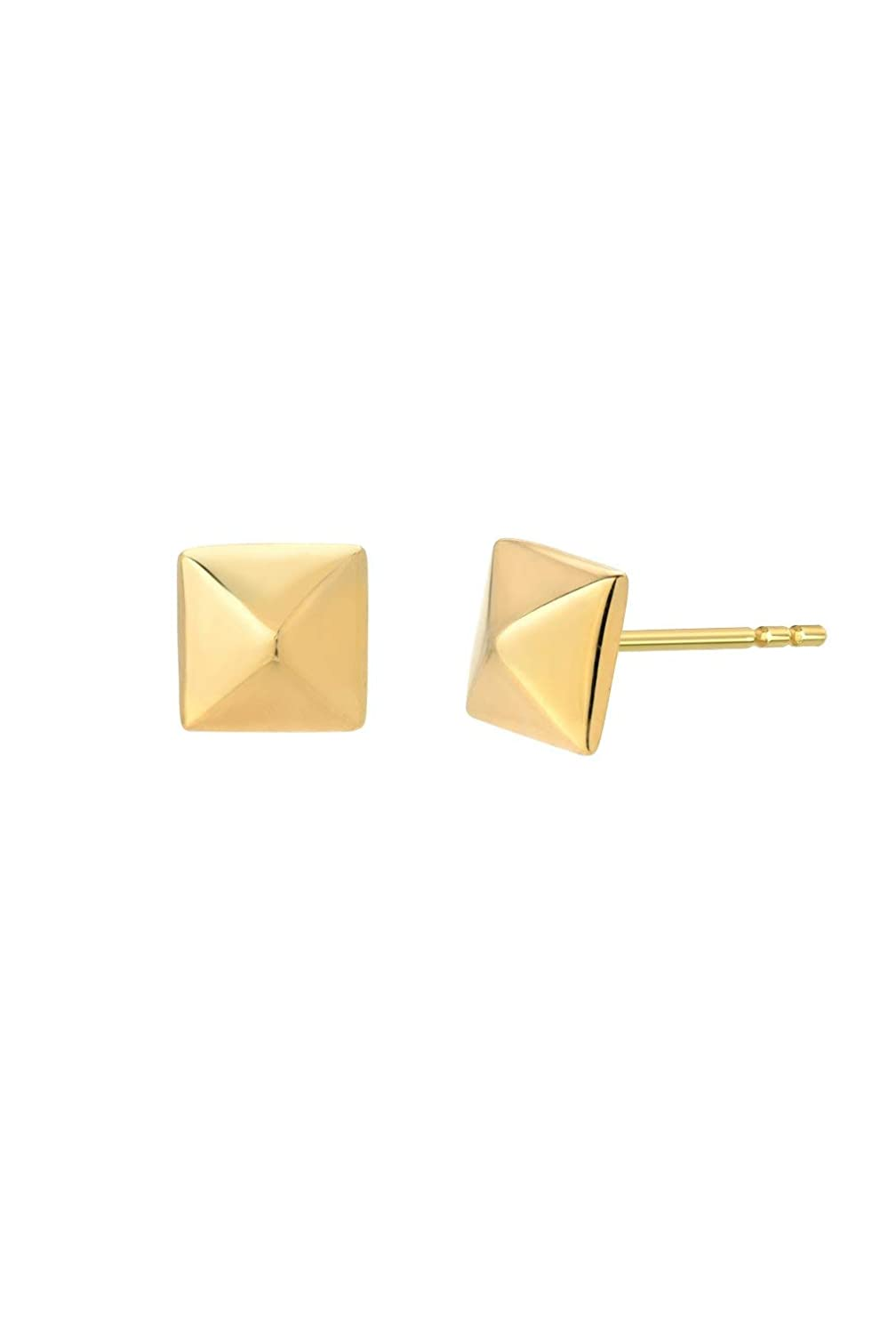 4c413f2aa Amazon.com: 14k gold pyramid stud earrings, Zoe Lev Jewelry: Handmade