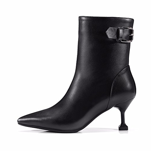 HXVU56546 Women New Winter Boots Leather High-Heeled High-Heeled Leather Belt Buckle With Fine White Pointed Boots Black